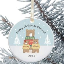 Personalised Christmas Tree Decoration For Dad/Grandad - Gift From Child - Bear Design